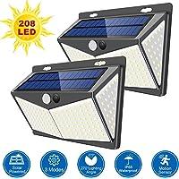 LTPAG Luz Solar Exterior 208 LED, 2pcs Foco Exterior Solar con Sensor de Movimiento, 270º lluminación Lamparas Solares para Jardin de Pared con 3 Inteligente Modos, IP65 Impermeable
