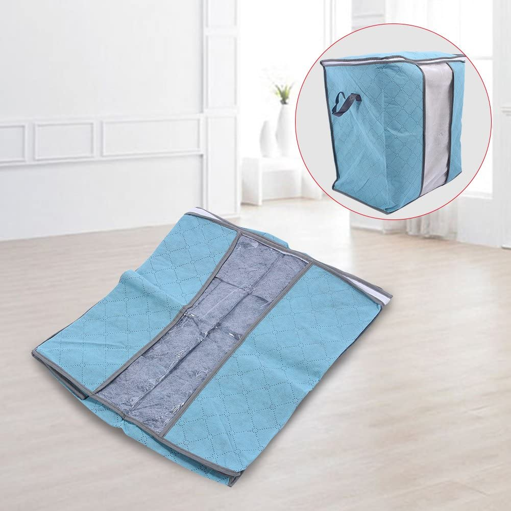 Comfortable and No-Smell Fabric Made of Better Bamboo Storage Bag for Clothes Blue 4 Colors-67L Laundry Bags Moving Acogedor Storage Bags with Zips Clutter Blankets Quilt