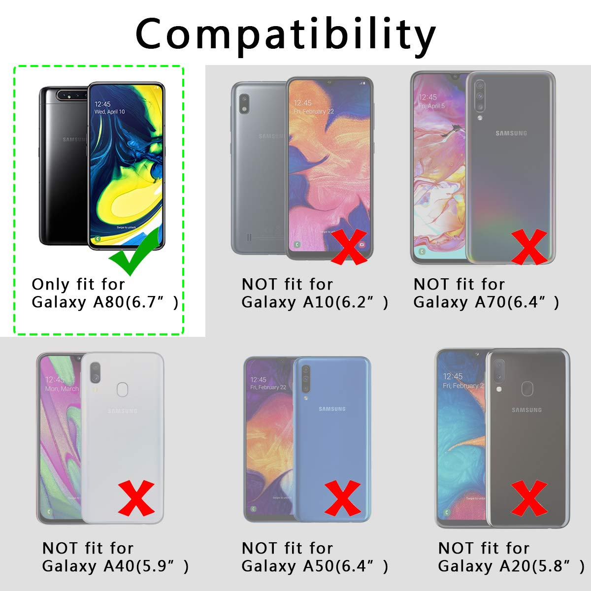 UCMDA Coque pour Samsung A80, Protection Etui Housse en Cuir [Stand Support] [Porte-Cartes de Crédit] [Fermeture Magnétique] pour Samsung Galaxy A80- Bleu