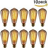 KINGSO 10pack E27 Ampoule Edison à Incandescence Vintage ST64 40W 220V Lampe Tungstène Décorative Ampoule Filament Classique Antique Dimmable Blanc Chaud