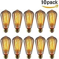 KINGSO 10 pack E27 Ampoule Edison à Incandescence Vintage ST64 60W 220V Lampe Tungstène Décorative Ampoule Filament Classique Antique Dimmable Blanc Chaud