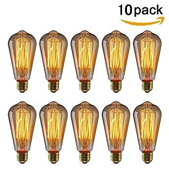 Kingso 10pack E27 Ampoule Edison A Incandescence Vintage St64 60w