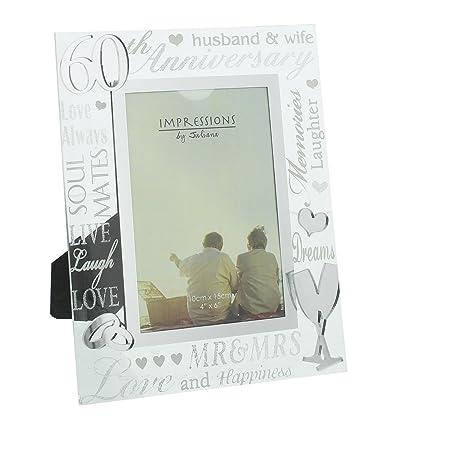 60th Diamond Wedding Anniversary Photo Frame New Boxed: Amazon.co.uk ...