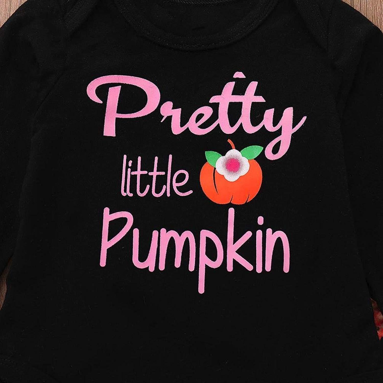 Newborn Baby Girl Outfits Pretty Little Pumpkin Romper Halloween Clothes Set Headband Hat