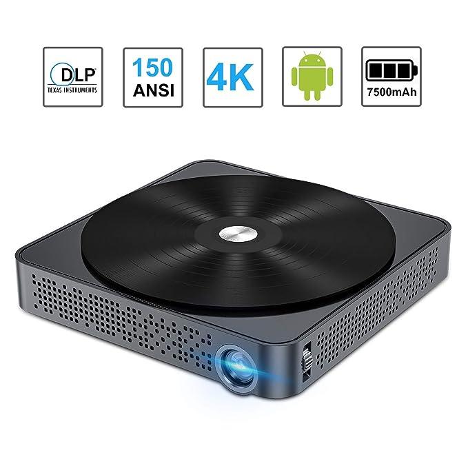 Amazon.com: Proyector portátil móvil 150 ANSI DLP Mini Smart ...