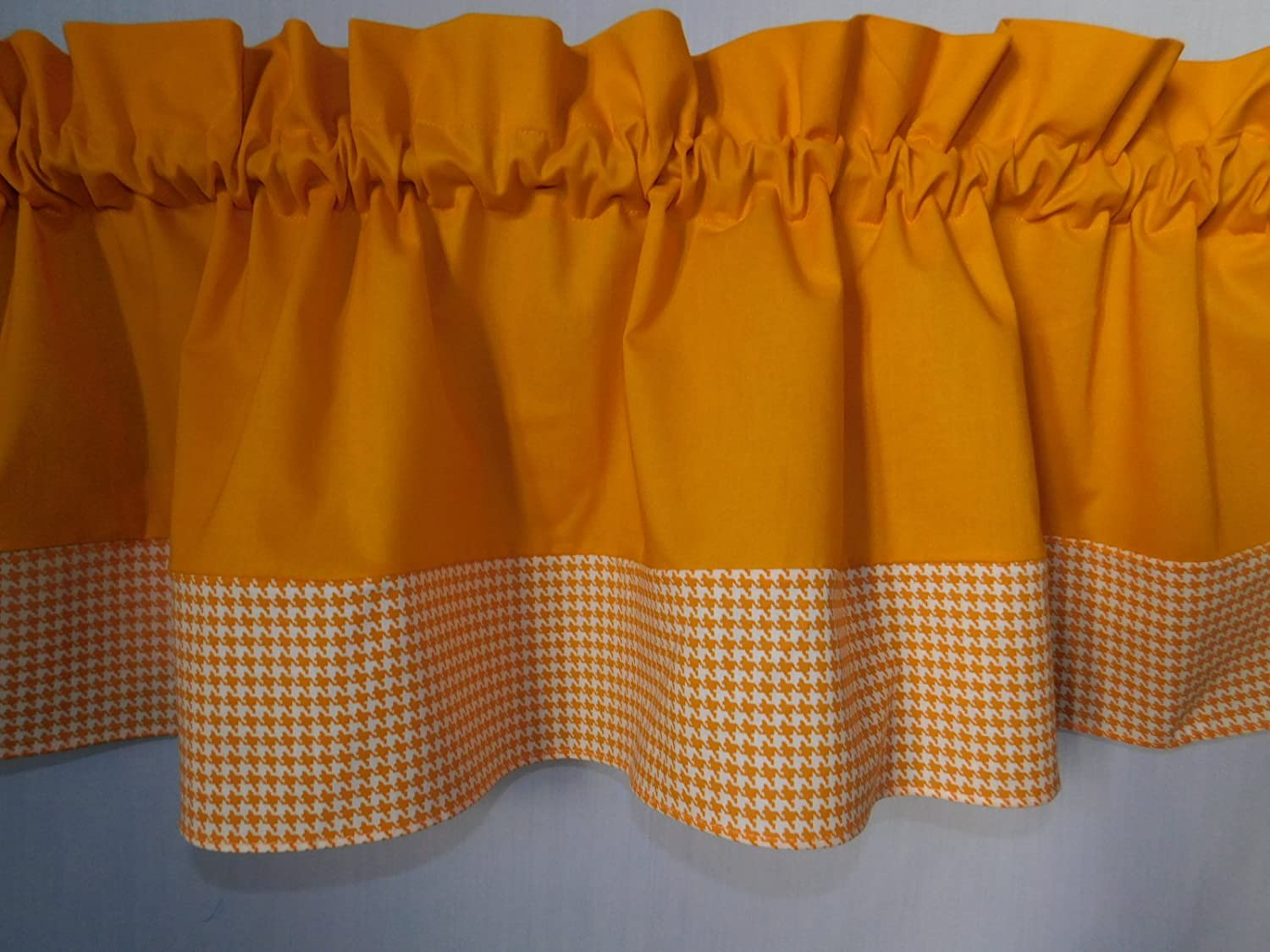 Solid Gold and hounds-tooth Light orange and white valance. Kids Window treatment decor, laundry room , Baby , school centers.