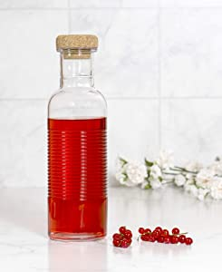 Red Co. Ribbed Glass Bottle with Cork Topper Storage Container for Water, Juice, Beverage, 33.8 oz.