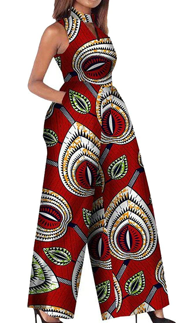 6 XiaoTianXinwomen clothes XTX Womens Keyhole Sleeveless Bodysuit Dashiki African Print Wide Leg Jumpsuit