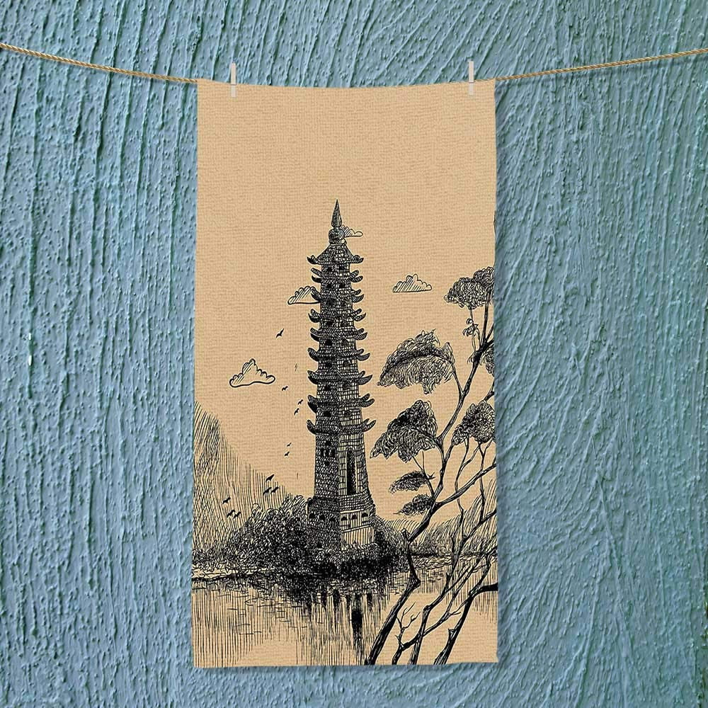 SOCOMIMI Soft Luxury Towel Old Stone Tiered Tower Vintage Style Taoist House of Faith Historical Illustration Pale Absorbent Ideal for Everyday use