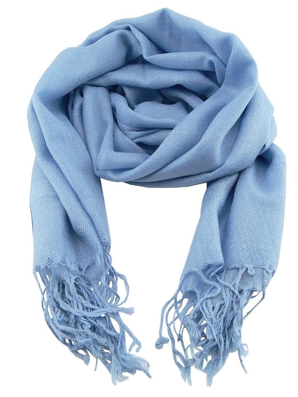 4da6e69ebf70 Écharpe Chèche Pashmina Homme Bleu Ciel Couleur Unie Très Doux 198cm x 90cm