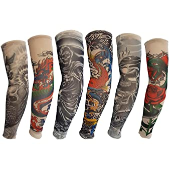 Kehuashina 6 unids Set Art Brazo Medias Falso Tatuaje Temporal ...