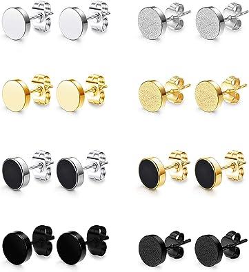 8mm Couleur Argent Acier Inoxydable Avec Sac Cadeau Clous doreille Homme Femme JewelryWe Paire Boucles doreilles