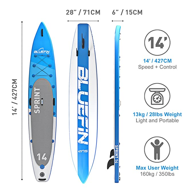 Bluefin Tabla de Stand Up Paddle Surf Sup Hinchable | Modelo Sprint DE 14| Modelo Touring/Carrera| Completa con Todos los Accesorios: Amazon.es: Deportes y ...