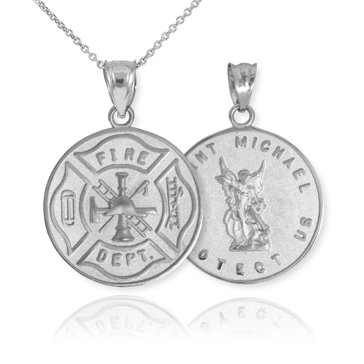 10k White Gold Fireman Protection Shield Medal of St Michael Firefighter Pendant Necklace, 20''