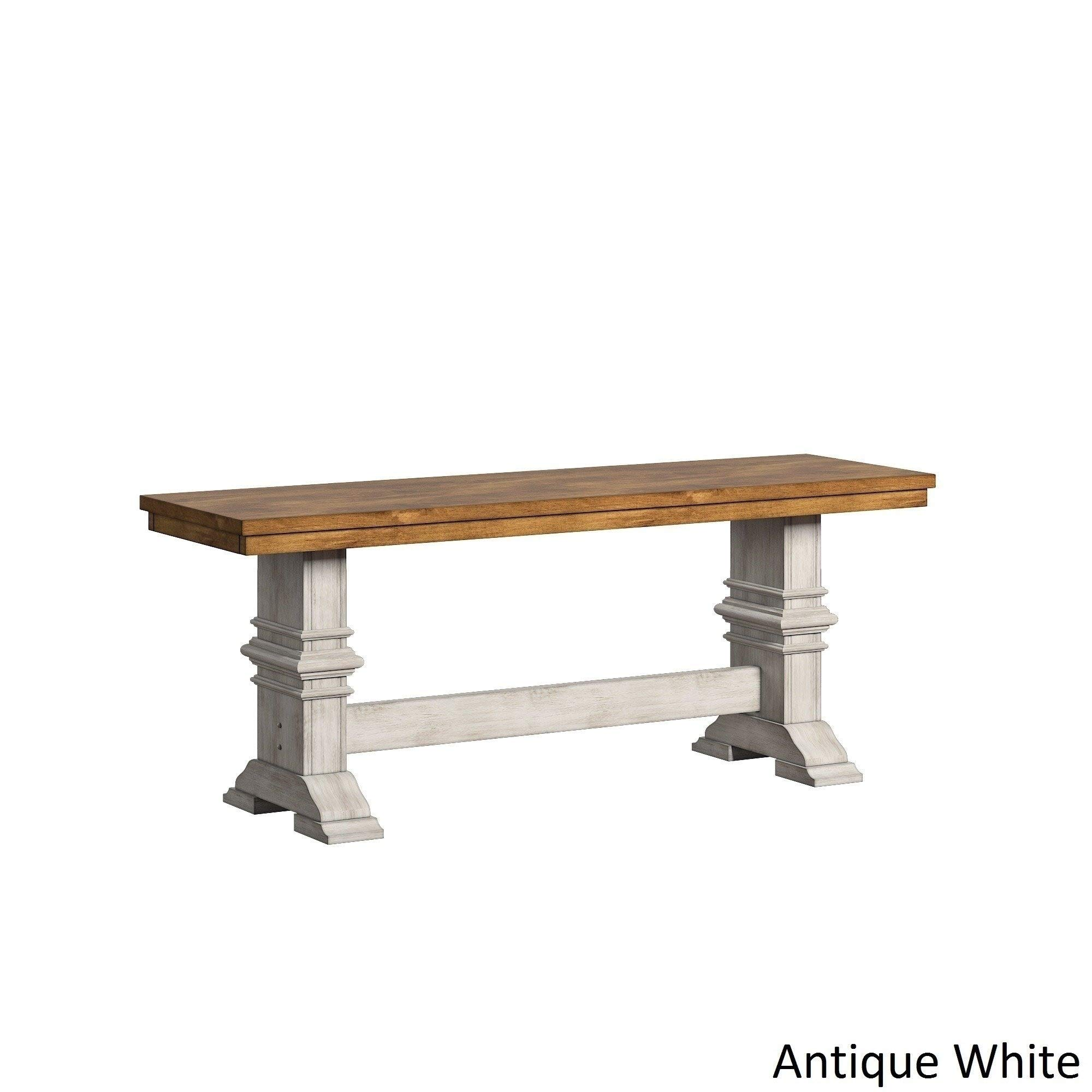 Inspire Q Eleanor Two-Tone Trestle Leg Wood Dining Bench by Classic Cream Antique, Oak Finish, Distressed by Inspire Q