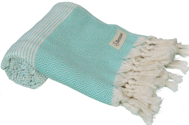 Bersuse 100% Cotton - Hierapolis Turkish Towel - Bath Beach Fouta Peshtemal - Handloom Diamond Weave Pestemal - 37X70 Inches, Black Bersuse Towels HIERAPOLIS_PEST_B
