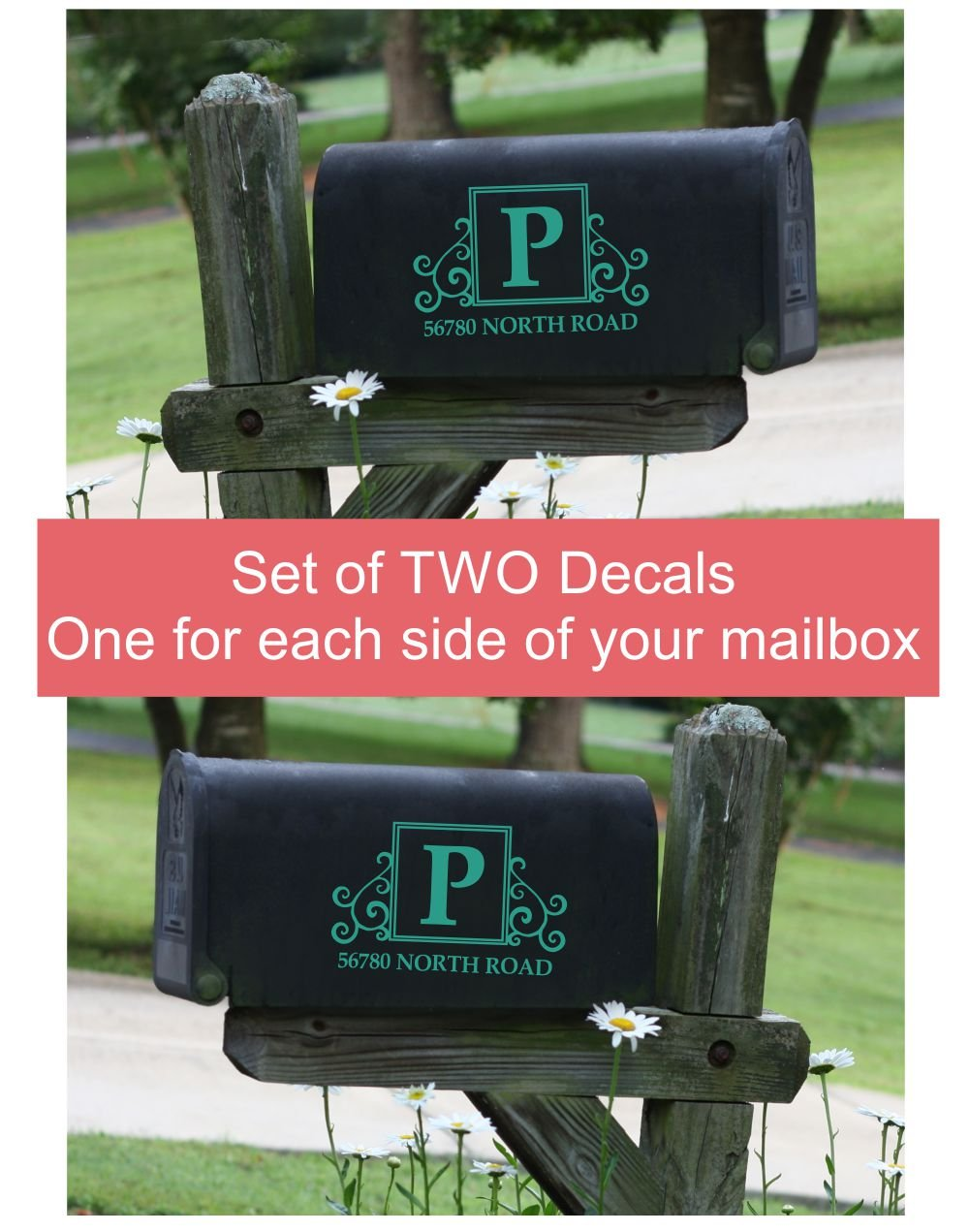 Monogram Vinyl Decals Mailbox Stickers Custom Initial Address Art, Set of 2 for Basic Mailbox