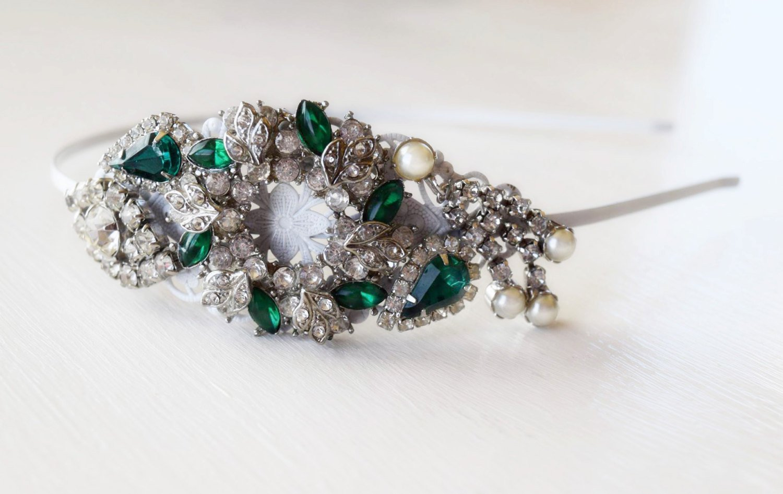 Christmas Side Tiara - Christmas Wreath - Emerald Green and White - Adult Headband - Christmas Headband -Vintage Jewelry Collection