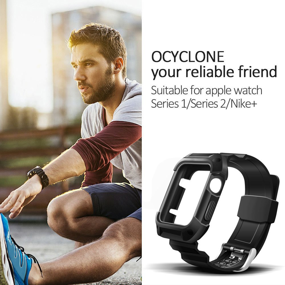 Apple Watch Band 42mm, Ocyclone Apple Watch Series 3 42mm Band iWatch 3/2/1 Sport Protective Bumper Case Strap Replacement for Active Style Men and Women by OCYCLONE (Image #3)