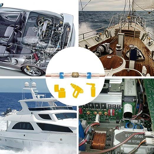 ... de soldadura, conectores de botón termorretráctiles de cobre terminales eléctricos aislados marino impermeable para automoción, barco, camión, remolque, ...