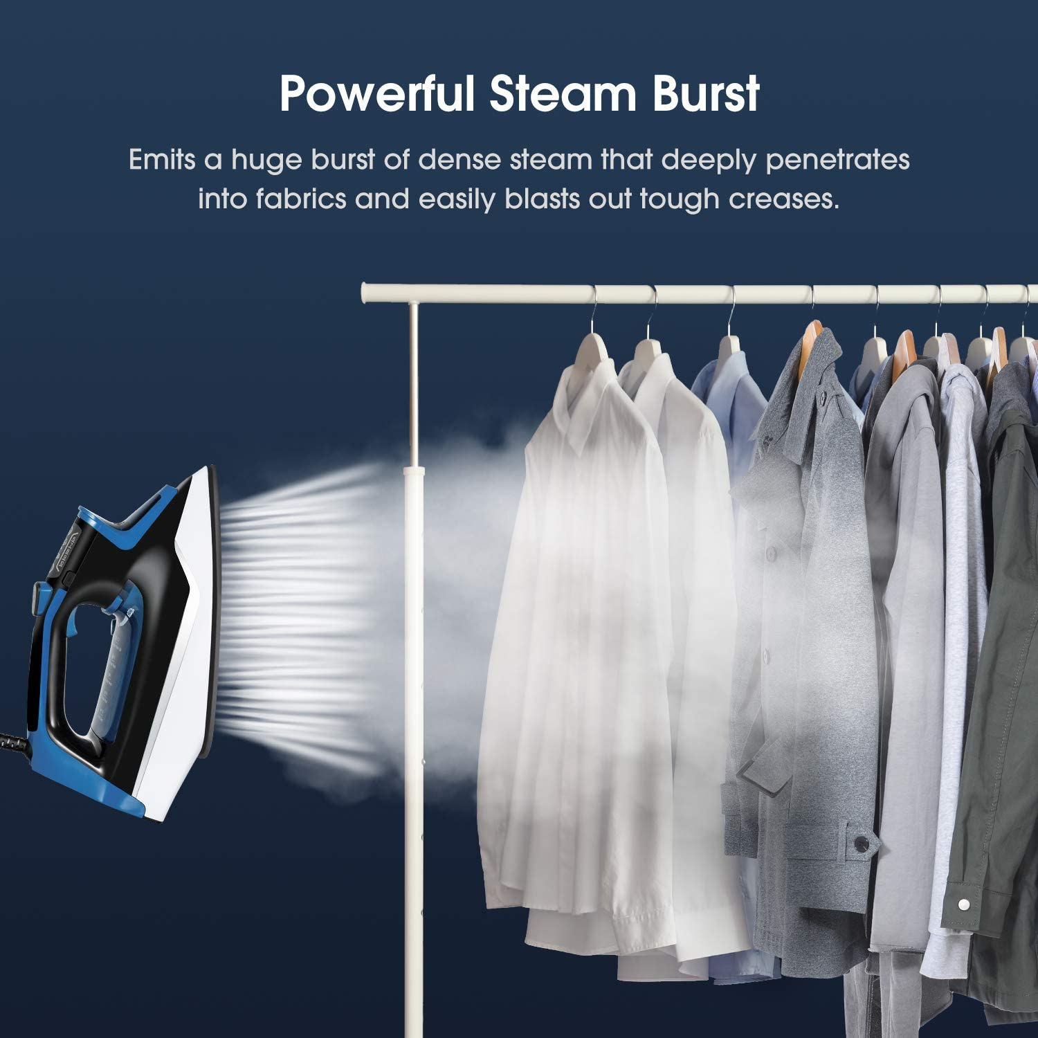 Garment Steamer Anti-Drip Non-Stick Soleplate Iron with Conveniently Vertical Spray Steam Iron Professional Clothes Steamer 2720-Watt Fabric Steamer Wrinkle Remover with Fast Heat-up