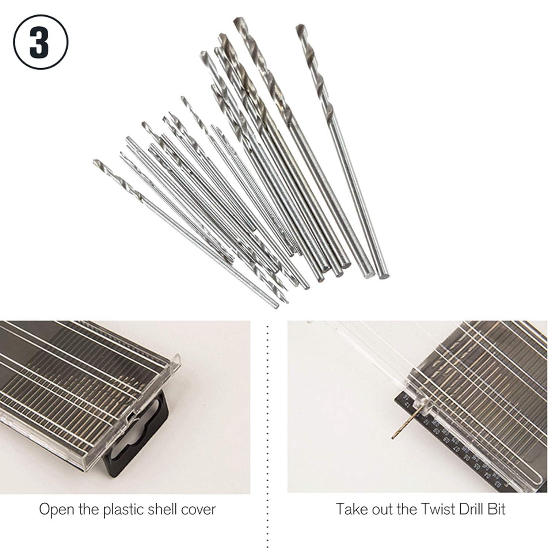Hoen 20PCS 0.3 –  1.6 mm Mini Micro punte da trapano elicoidali fai da te Kit Rotary Hand Tools