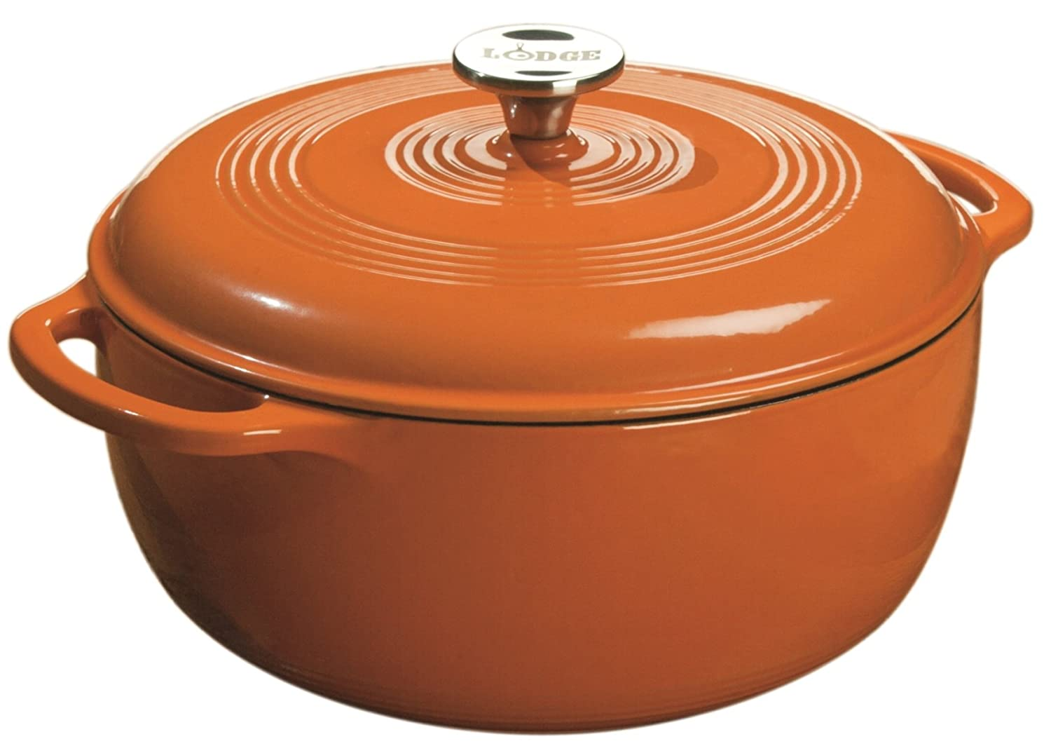 Lodge Color EC6D63 Enameled Cast Iron Dutch Oven, Pumpkin, 6-Quart