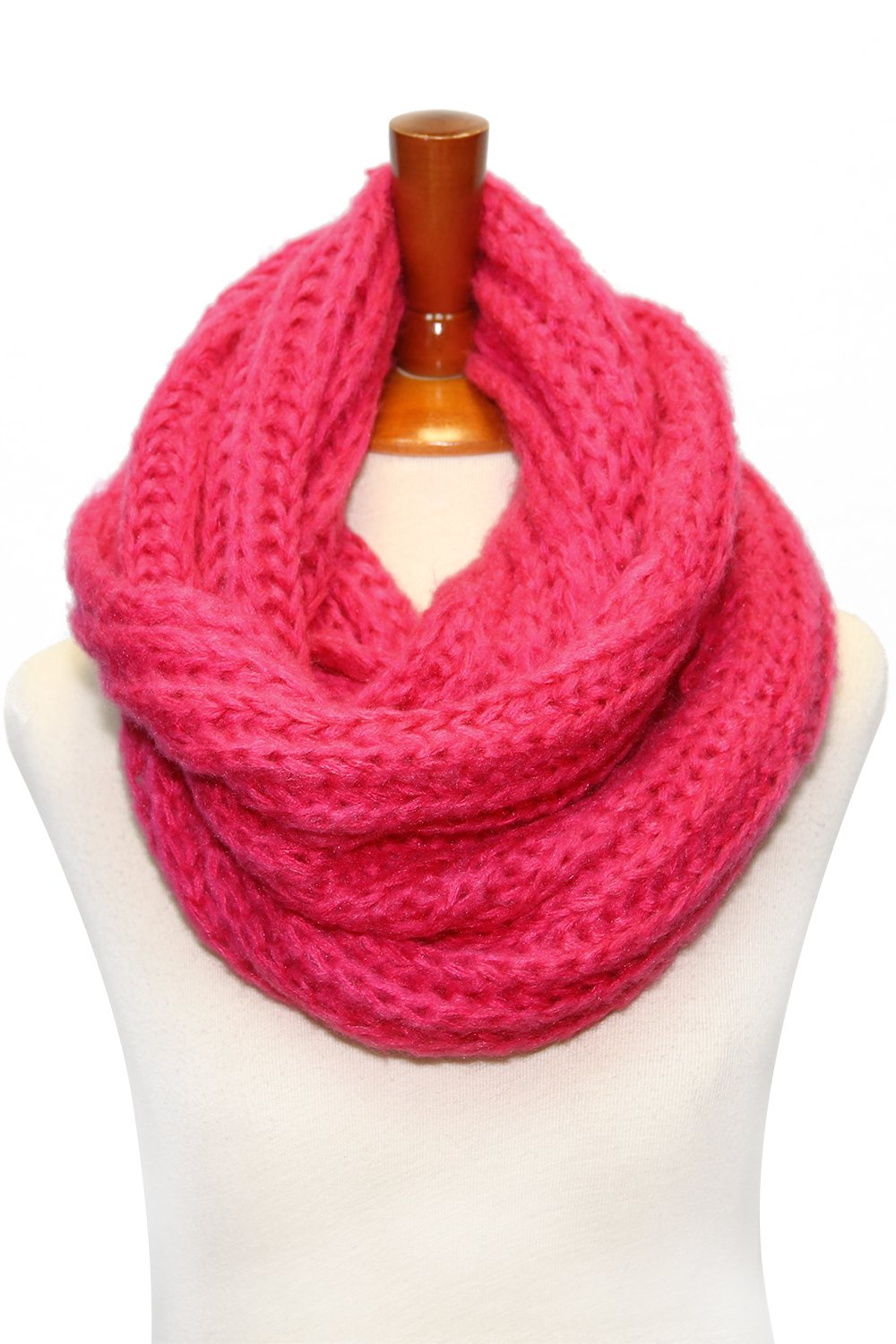 Basico Women Warm Circle Ring Infinity Scarf Neck Warmer Various Colors (S3 Hot Pink)