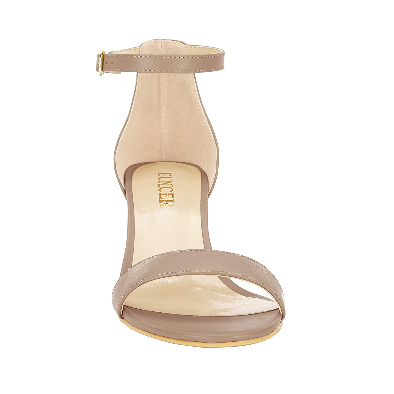 521badede2 Eunicer Womens Single Band Classic Chunky Block Low Heel Sandals with Ankle  Strap Dress Shoes ...