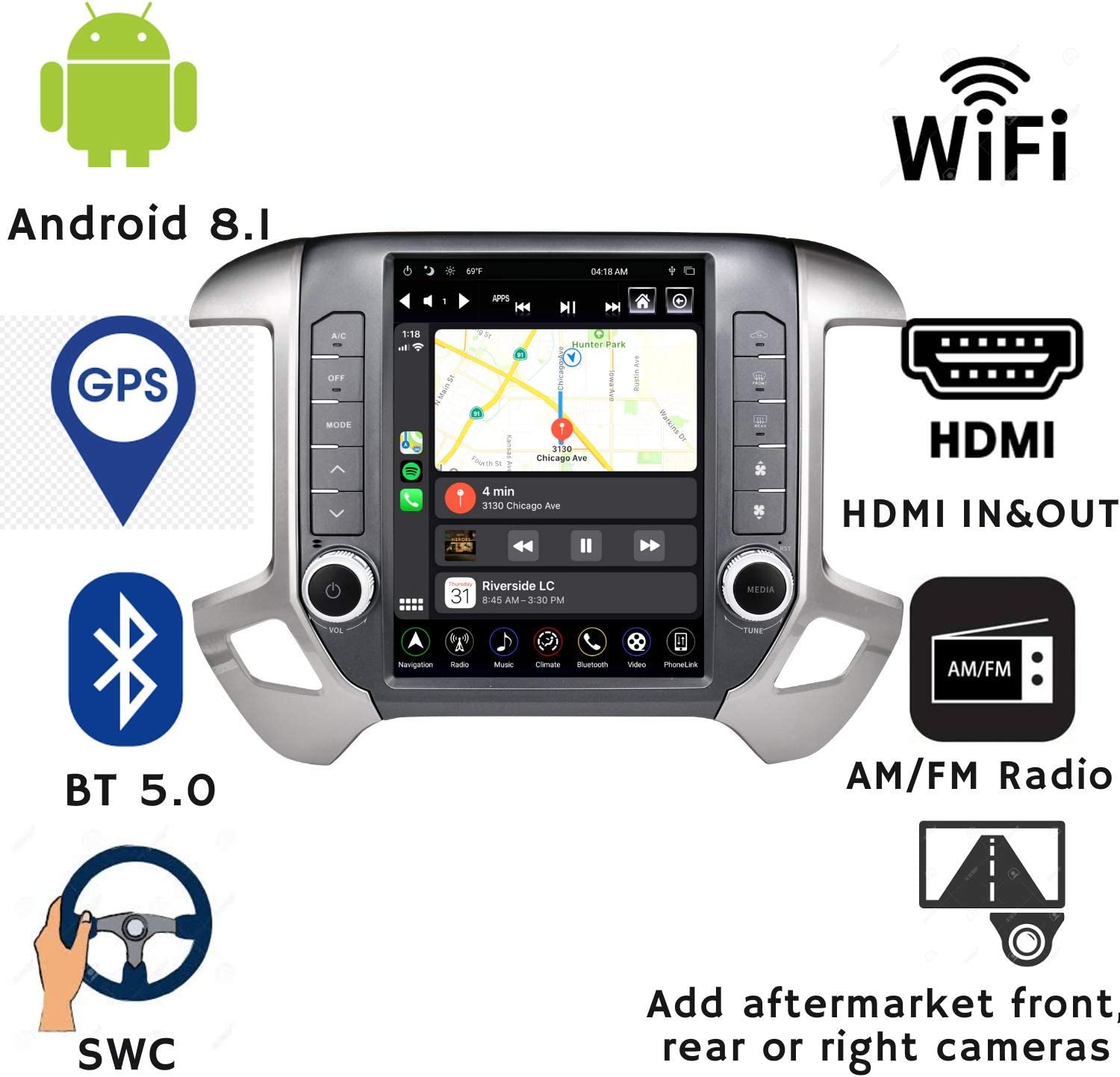 LINKSWELL GEN IV Android Radio Replacement Head Unit Fits for Chevrolet 2014 to 2019 Silverado and GMC 2014 to 2019 Sierra Car Stereo Navigation 12.1 Inch Touchscreen with WiFi//BT 4GB+32GB UNIMEAUTO