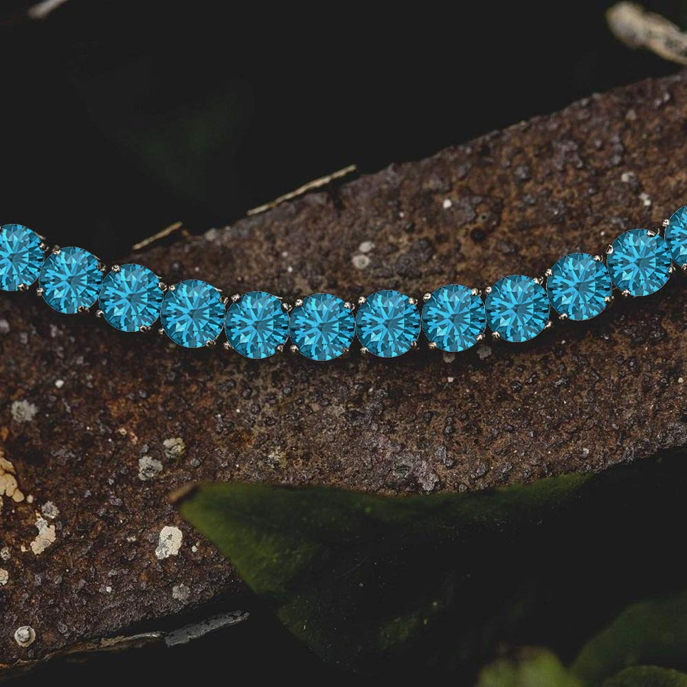 RUDRAFASHION Mens 4MM Round Cut Created White Diamond 925 Sterling Silver Tennis Bracelet 7.5 inch Length Bracelet