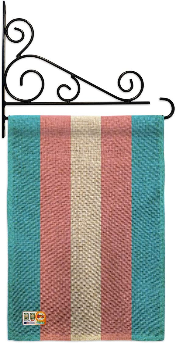 Americana Home & Garden Transgender Garden Flag Set Wall Holder Support Pride Rainbow Love LGBT Gay Bisexual Pansexual House Decoration Banner Small Yard Gift Double-Sided, Thick Burlap, Made in USA