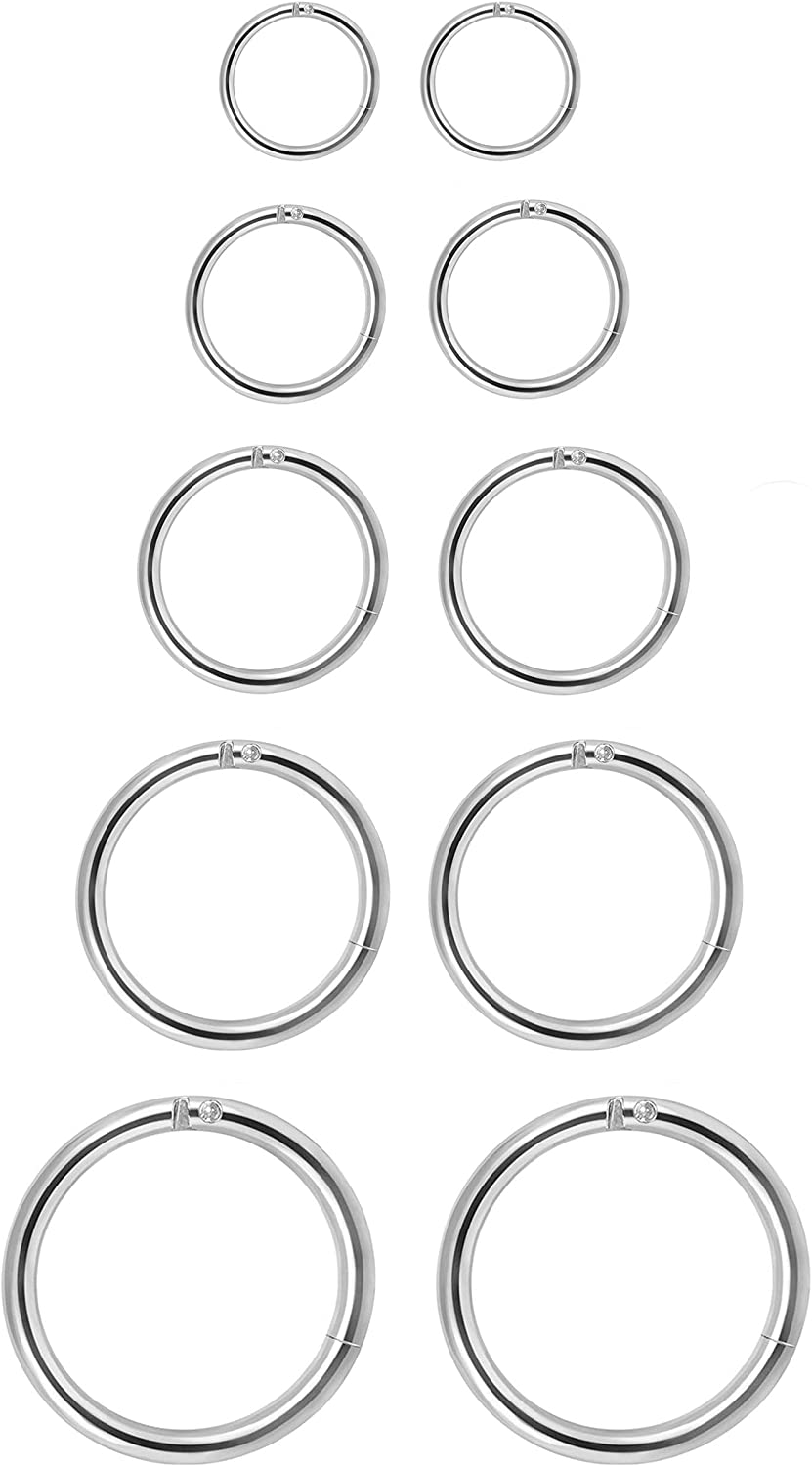 CARSHIER 4-5Pairs 6-14mm Stainless Steel 16g Cartilage Hoop Earrings for Men Women Nose Ring Helix Septum Couch Daith Lip Tragus Piercing Jewelry Set