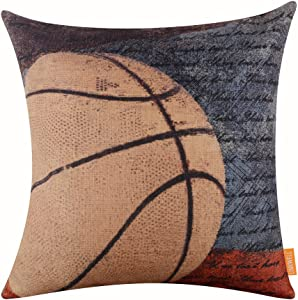 "LINKWELL 18""x18"" Vintage American Style Basketball Popular Sports in USA with Small Words for Man Cave Burlap Throw Pillow Case Cushion Cover (CC1119)"