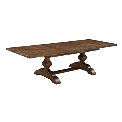 Emerald Home Chambers Bay Rustic Brown Dining Table With Self Storing Butterfly Extension Leaf And Double
