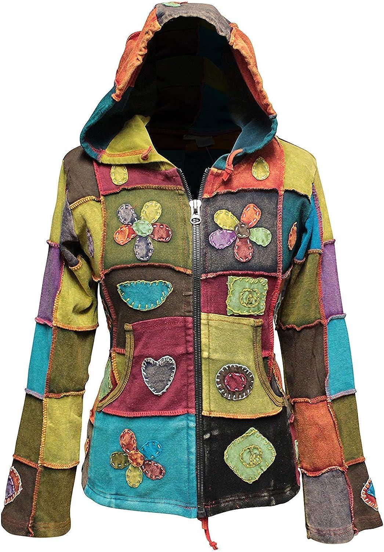 SHOPOHOLIC FASHION Women Love Peace Patchwork Hippy Hoodie Jacket