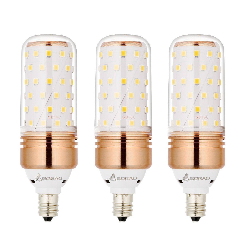 Bogao E12 LED電球 12W LED燭台電球 100ワット相当 1200lm 温白色 3000K LEDシャンデリア電球 装飾キャンドルベース E12非調光LEDランプ 4個パック   B07MKFW8DD