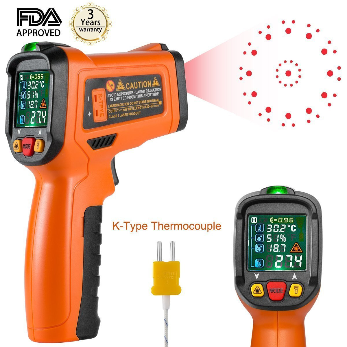 Laser thermometer, Infrared thermometer Digital Laser Thermometer Non Contact Kitchen Thermometer Temperature Gun Color Display -58°F~1472°FWith 12 Points Aperture Temperature Alarm Function