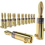 KabelDirekt Conectores Banana, (Conectores de 11-16 AWG, 10 Parejas, bañados en Oro de 24 Quilates, para Forma Flexible el Ca