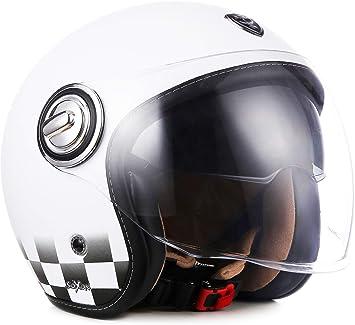 Soxon Sp 888 Snow Jet Helm Motorrad Helm Roller Helm Scooter Helm Moped Mofa Helm Chopper Retro Vespa Vintage Pilot Biker Ece 22 05 Sonnenvisier Schnellverschluss Slimshell Tasche L 59 60cm Auto