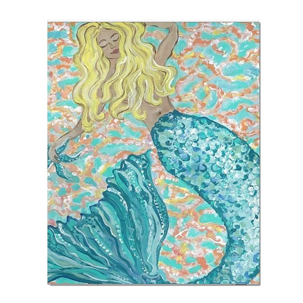 Amazon.com: CZXWAOY Mermaid 16x20 Inch Canvas Modern Artwork ...
