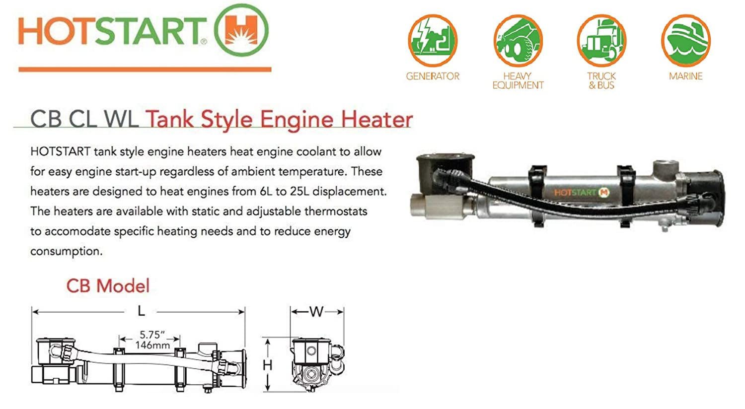 Engine Pre Heater Hotstart Cb115700 000 Original 1 2 5l Diagram Year Warranty Garden Outdoor