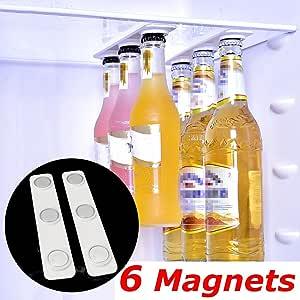 MOOMBIKE Magnetic Fridge Bottle Hanger - Beer Jar and Can Holder for Refrigerator or Cabinet, 2 Strip Pack of Strong Neodymium Magnets