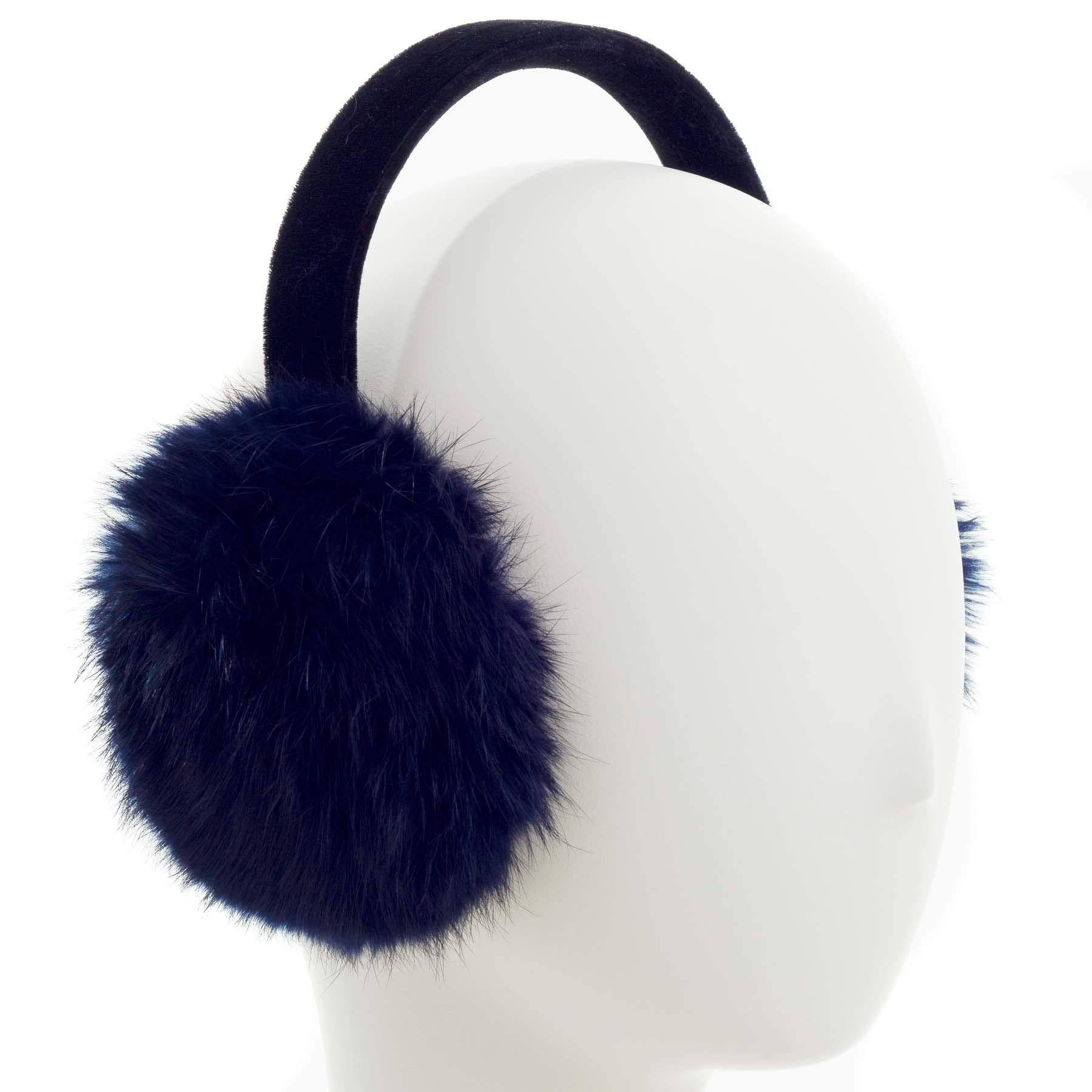 Surell Long Hair Rabbit Fur Earmuff with Velvet Band Winter Ear Warmer (Navy)