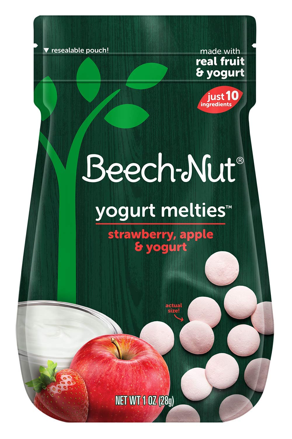 Beech-Nut Yogurt Melties Stage 3, Strawberry, Apple & Yogurt, 10 Simple Ingredients, Baby and Toddler Snacks, 7 Count, 1 oz Pouches…