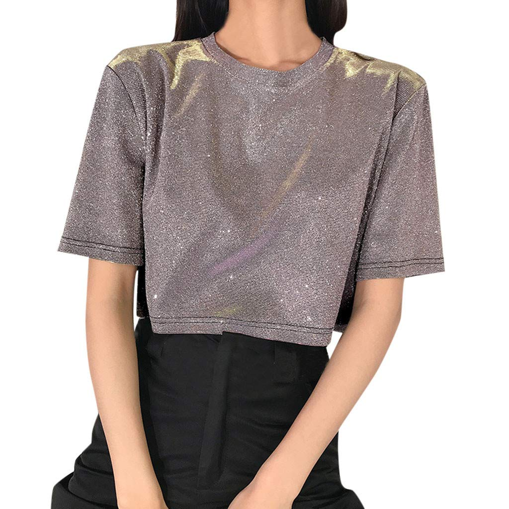 Short Sleeve Tee Blouse for Women,Amiley Women's Flare Bling Short Sleeve Crop Top Tee Girls Solid O-Neck Blouses Shirts (Small, Pink)