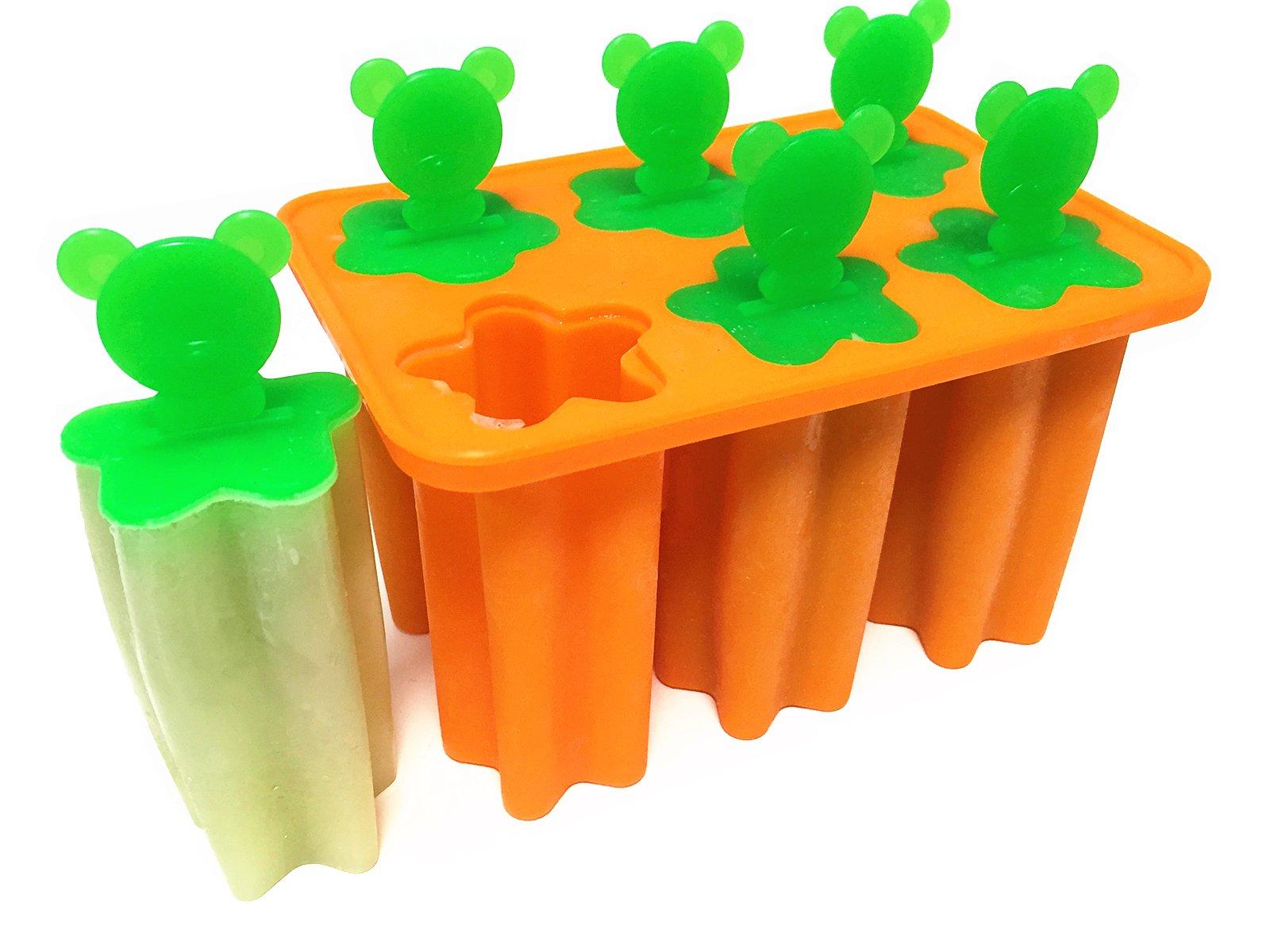 EPHome Platinum Silicone Ice Pop Mold Popsicle Maker Frozen Pop Tray, Pop Sticks Included (1, Orange)