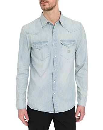Chemise En Jean Denim supply Ls Sixties Work Bleu Homme Xs  Amazon ... 518c292d17e
