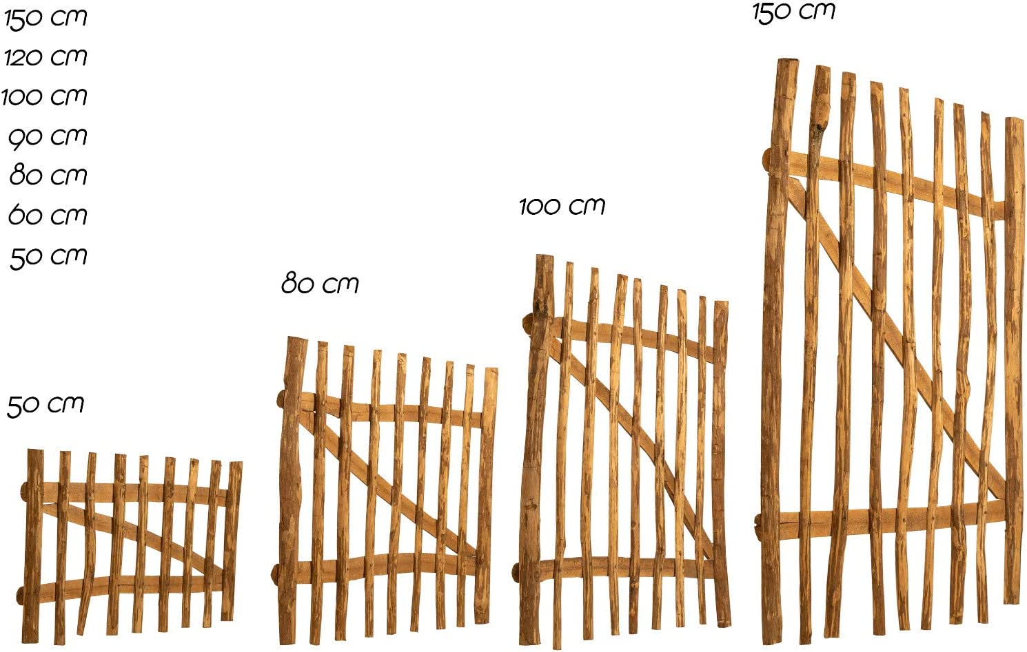BooGardi Garden Gate Hazelnut Waterproofed /· Wooden Fence Gate for Staket Fence /· Wing Gate in 14 Sizes /· Fence Gate for Staket Fence Chestnut Fence with Accessories Farm Fence