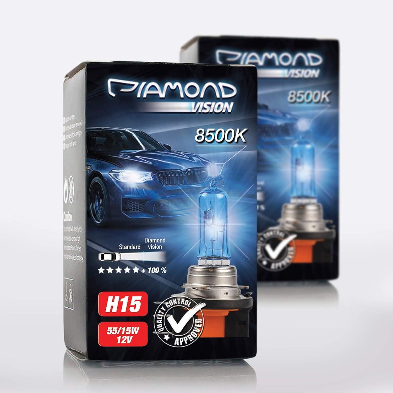 2x H15 12v 55 15w Diamond Vision Xenon Look Effekt Halogen Lampen Birnen Licht Optik Super White 8500k Abblendlicht Fernlicht Kaltweiss Weißes Licht White Vision Motorrad Duobox Pgj23t 1 Auto